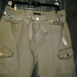 WHBM NWT khaki slim ankle pants with bling!